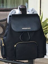 MICHAEL KORS ABBEY LARGE CARGO BACKPACK BLACK NYLON LEATHER BAG $448