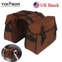 Tourbon Bike Double Pannier Rear Rack Seat Twins Bag Shoulder Saddle Pack Brown