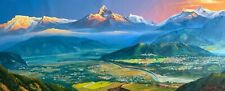 MOUNT ANNAPURNA RANGE FROM POKHARA ORIGINAL ACRYLIC PAINTING ON CANVAS 22 x 52""