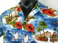 RJC Aloha Shirt Mens Extra Large 100% Cotton Made in Hawaii Island Life Hibiscus
