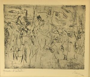 ~JULES PASCIN, French (1885-1930) New York Streets Signed Engraving Print