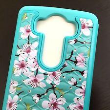 For LG V10 (H901) - HARD&SOFT RUBBER HYBRID DIAMOND CASE MINT BLUE PINK FLOWERS