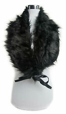 New Womens Fluffy Winter Faux Fur Collar Scarf Wrap Black Brown grey white