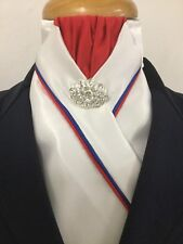 HHD White Satin Dressage Pre-tied Show Stock Red  & Royal Blue Piping Free Pin