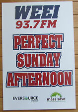 "Rare WEEI 93.7FM K Card Poster ""PERFECT SUNDAY AFTERNOON"" Boston Red Sox"
