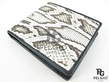 PELGIO Real Genuine Burmese Python Snake Skin Leather Bifold Men Wallet Natural