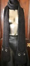 MICHAEL KORS BLACK CABLE KNIT MUFFLER GLOVE SCARF GLOVE POCKETS - PRE-OWNED