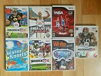 Wii Lot 7 games NFL Madden NBA Live 2k All Play Sports Water Snowboard - TESTED