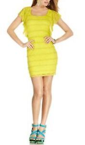 Guess Los Angeles Dress Sz 2 Lime Green Jessica Lace Tiered Cocktail Party Dress