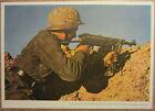 1943 German WH soldier MP40 Machine gunner postcard AGFA Color photo camo helmet