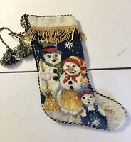 Vintage Christmas Stocking Imperial Elegance Needlepoint Snowman 1991 15 inches