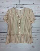 Easel Anthropologie Women's S Small Ivory Pink Polka Dot Lace Spring Top Blouse
