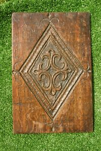 ANTIQUE 17thc ENGLISH OAK WOOD PANEL WITH CARVED DIAMOND MOTIF TO CENTRE