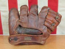 Vintage 1940s Goldsmith Leather Baseball Glove Split Finger Mitt Pep Young Model