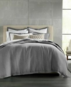 Hotel Collection Linen Embroidered FULL / QUEEN Duvet Cover GRAY - New