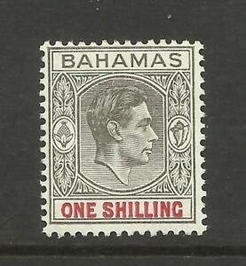 Bahamas 1938 Sg 155, 1/- Grey Black & Carmine, Thick Paper, M/Mint. {Box 4-25}