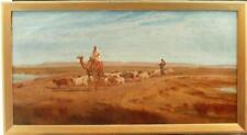 LARGE FREDERICK GOODALL ARABIAN DESERT SCENE BEDOUIN SHEPHERD OIL Painting