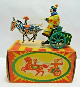 Vintage Made In USSR Tinplate Wind Up Donkey Cart - Boxed - (3065)