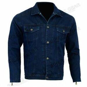 Mens Motorcycle Motorbike BLUE CE Armoured Motorcycle Denim Jacket with Kevlar®