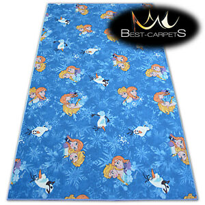 CHILDREN'S CARPET FROZEN Disney Elsa blue Kids Play Area Bedroom Rug ANY SIZE