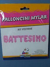 KIT FESTONE BATTESIMO ROSA h. 35cm in Mylar con Nastrino 4 mt FESTA PARTY