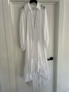 Beautiful Gauze Cotton White Tiered Relaxed Fit AJE Maxi Shirt Dress 8