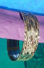 Tri-Color Cut Gold Layered Semanario Bangles Bracelets Oro Laminado 7 3mm