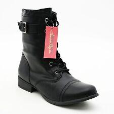 American Rag Cie Ladies 10 M Black Lace-up Boots Side Zip Buckle Ankle Booties