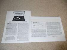 Revox B-790 Turntable Review, 2 pg, 1979, Specs, Info