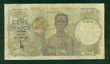 F.C. FRENCH WEST AFRICA , 100 FRANCOS 1950 ,  MBC- ( VF ) , SUCIO , P.40 .