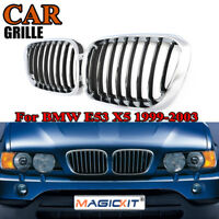 Pair Front Hood Kidney Chrome/Black Left & Right Grille for BMW X5 E53 2000-2003