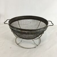 "Vintage Metal Steel 7"" Wire Handle Frame Stand Kitchen Tool Colander"