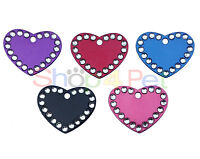 Dog cat Tag Quality 32mm Aluminium Crystal Heart PET ID Tags, ENGRAVED OPTIONS