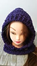 Chunky purple hat hooded cowl scarf scoodie crochet womans  hand made new