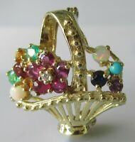 Vintage 9ct yellow gold opal sapphire ruby diamond citrine emerald basket brooch