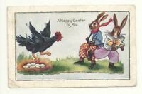 Postcard Easter Humanized Chicken Chases Dressed Bunny Rabbit From Nest Eggs