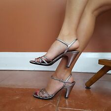 Prada Sz 8 Silver Leather Open Toe Ankle Strap Cuban Heel Women's Made in ITALY