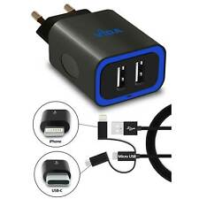 Dual puerto USB HUB fuente de alimentación cargador movil con cable de carga para móvil smartphone