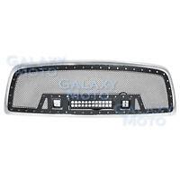 Rivet Black SS Mesh Grille+Chrome Shell+W/ LED Lights for 09-12 Dodge RAM 1500