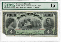 """RARE 1902 $4 Dominion of Canada F15 PMG """"Four at Top"""" - Comments Corner Missing"""