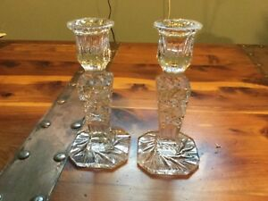 Vintage 24% Full Lead Crystal Handcut Candle Stick Holders (Made in Polonia)