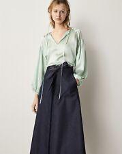 BNWT Massimo Dutti Green Oversized Silk Blouse With Tie Detail Medium