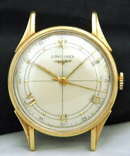 LONGINES SOLID 14K GOLD MENS WATCH 5859 17J 23M Cross Hair Conquest VTG Lot.n