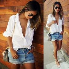 Women Sexy Blouse Long Sleeve Shirt Pocket White T-Shirts Loose V Neck Tops US