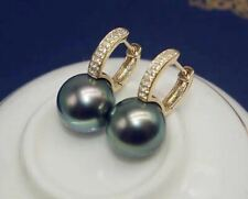 Certified Malachite Green Black Pearl Earrings S925 Silver Plated 18k Gold Gifts
