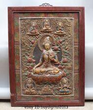 """32""""Tibet Buddhism Wood Painted handwork carve White Tara Buddha Kwan-Yin Statue"""