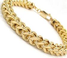 "26.50 Grams 7 mm 9"" Mens 10k Yellow Real Gold Cuban Miami Franco Box Bracelet"
