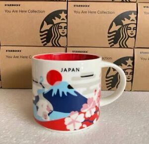 "Starbucks Mugs Japan ""You Are Here Collection"" Coffee Mugs Fuji 414ml Cup Sakura"