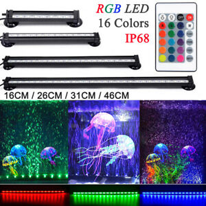 RGB LED Aquarium Beleuchtung Licht Dimmbar Bunt Lampe Wasserdicht Lichtleiste DE