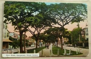 BRITISH GUIANA 1913 MAIN STREET GEORGETOWN PICTURE POST CARD SENT TO ENGLAND